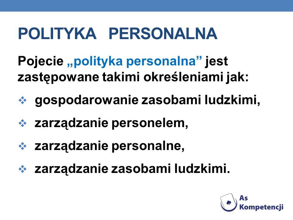 """Polityka personalna Pojecie """"polityka personalna jest zastępowane takimi określeniami jak: gospodarowanie zasobami ludzkimi,"""