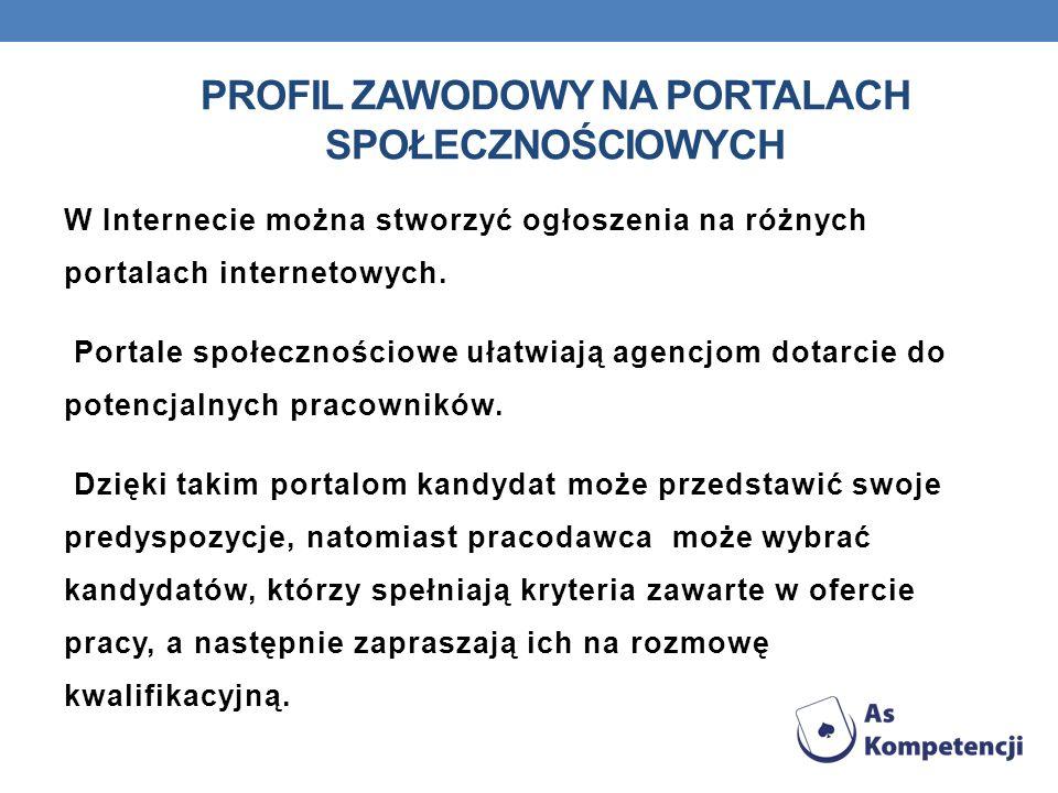 Profil zawodowy na Portalach społecznościowych