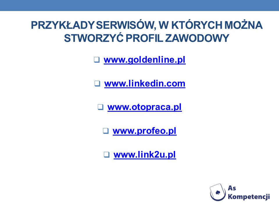 Przykłady serwisów, w których można stworzyć profil zawodowy