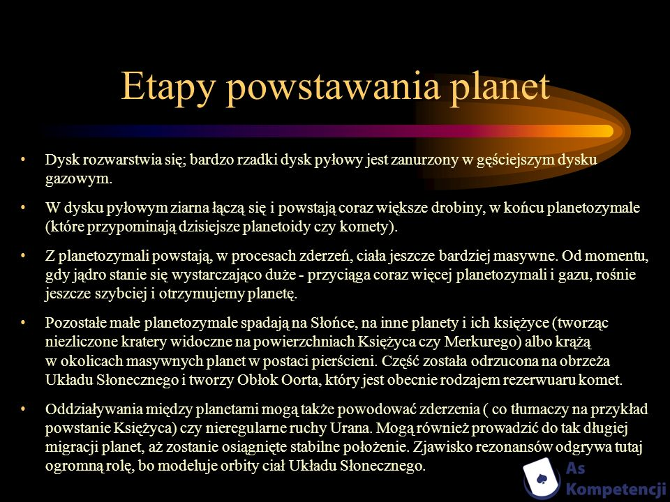 Etapy powstawania planet