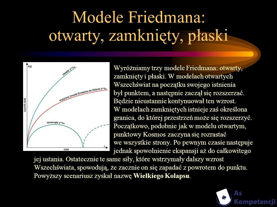 Modele Friedmana: otwarty, zamknięty, płaski
