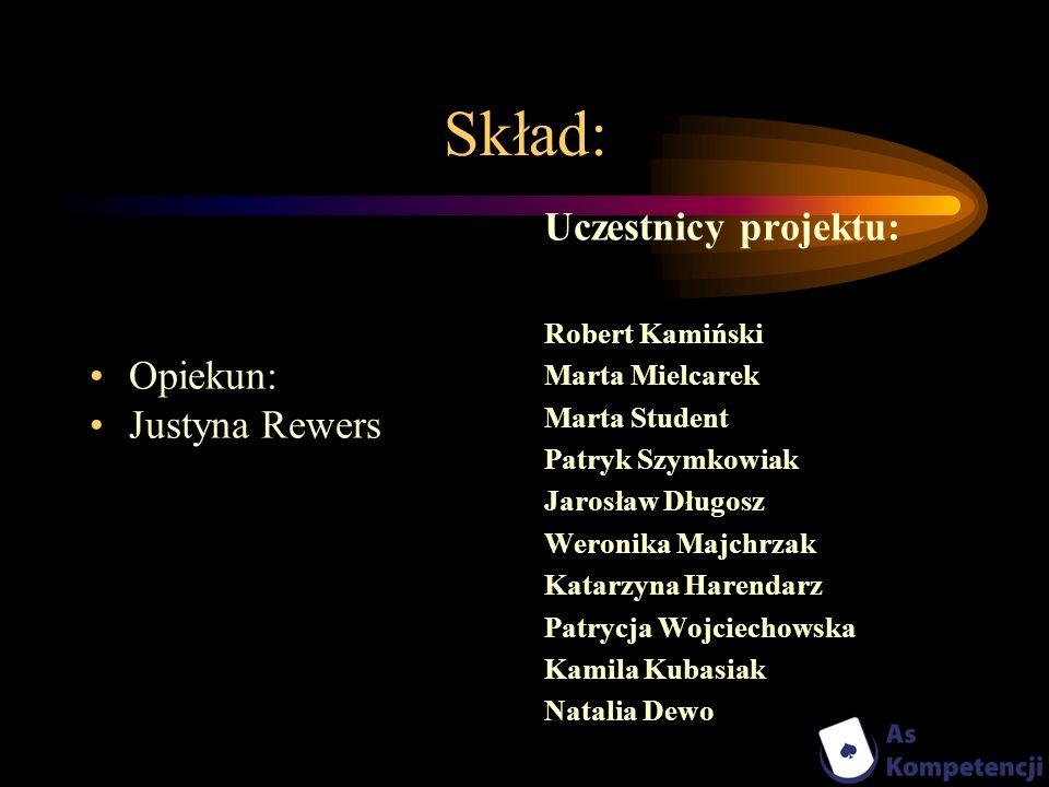Skład: Uczestnicy projektu: Opiekun: Justyna Rewers Robert Kamiński