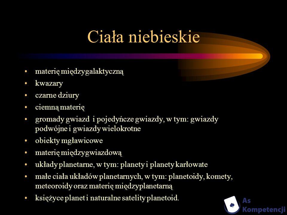 Ciała niebieskie materię międzygalaktyczną kwazary czarne dziury