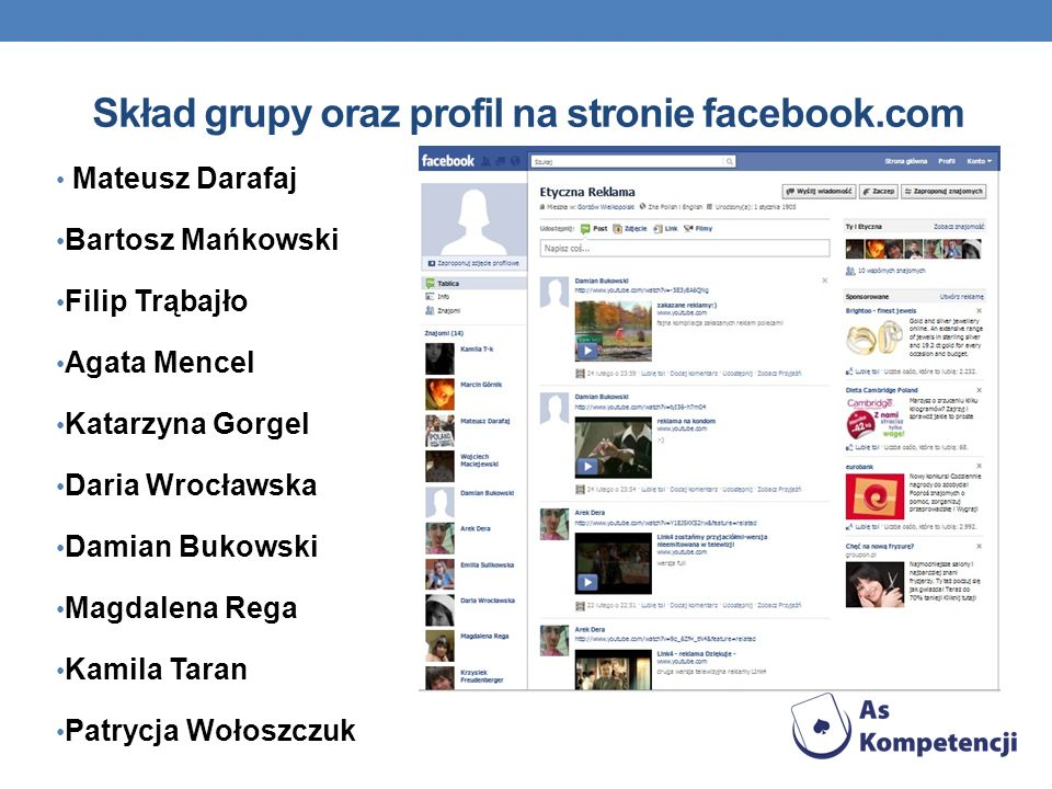 Skład grupy oraz profil na stronie facebook.com