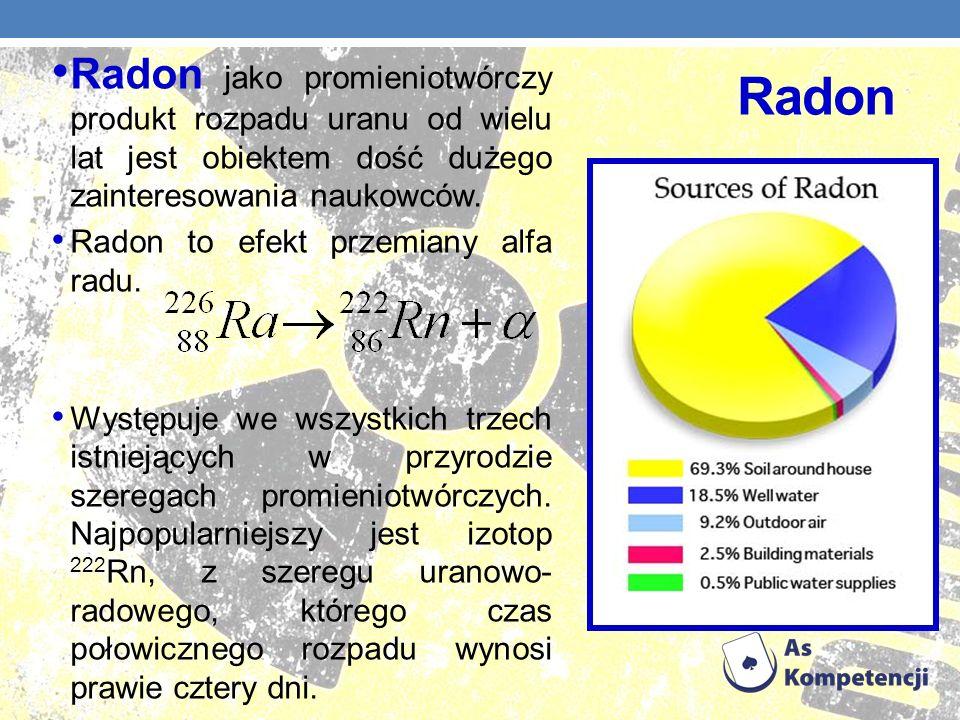 Radon jako promieniotwórczy produkt rozpadu uranu od wielu lat jest obiektem dość dużego zainteresowania naukowców.