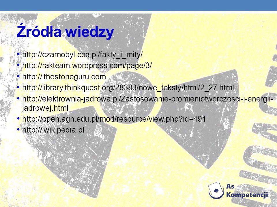 Źródła wiedzy http://czarnobyl.cba.pl/fakty_i_mity/