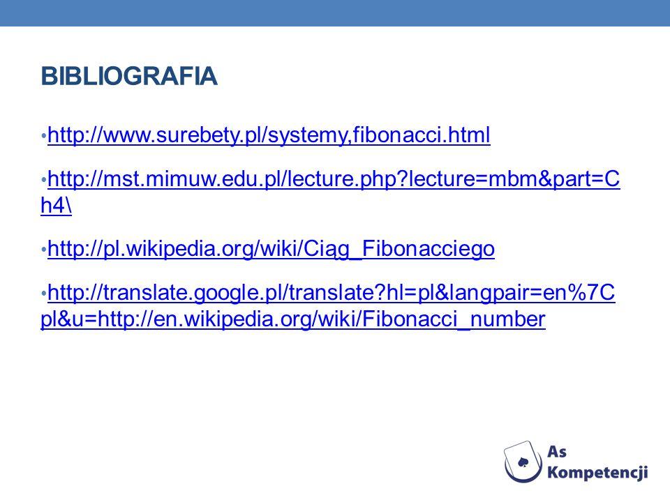 Bibliografia http://www.surebety.pl/systemy,fibonacci.html