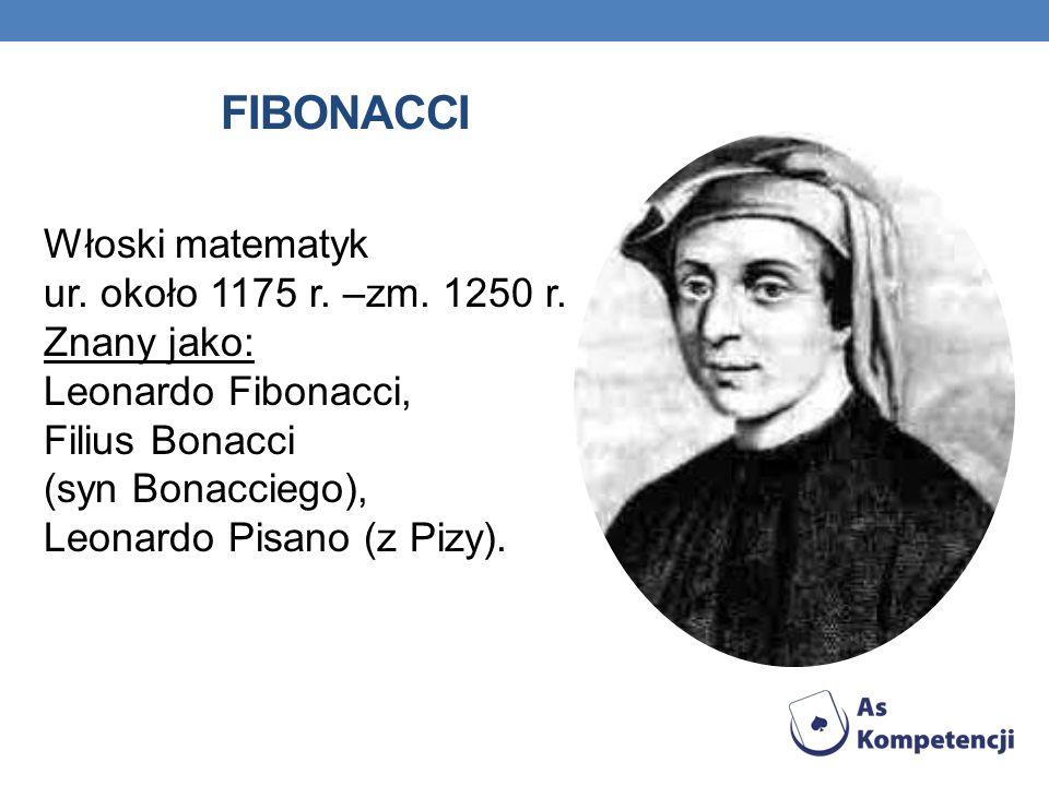 FIBONACCI Włoski matematyk ur. około 1175 r. –zm. 1250 r. Znany jako: