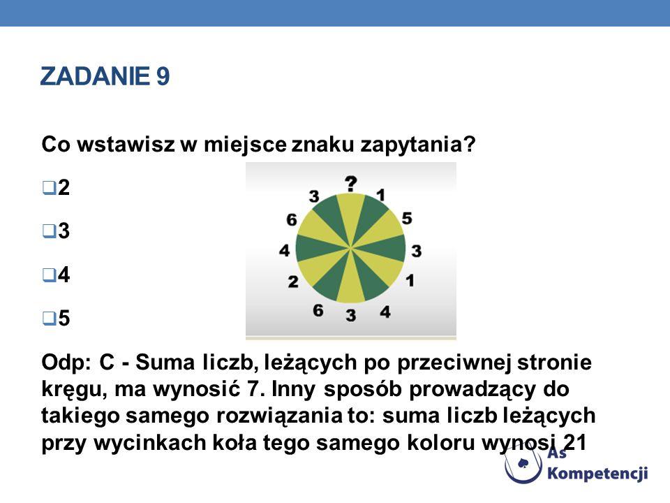 Zadanie 9 Co wstawisz w miejsce znaku zapytania 2 3 4 5