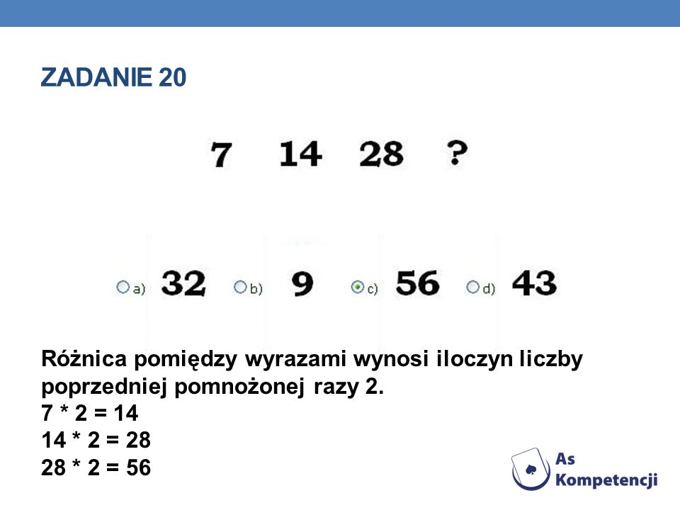 Zadanie 20 Różnica pomiędzy wyrazami wynosi iloczyn liczby poprzedniej pomnożonej razy 2.