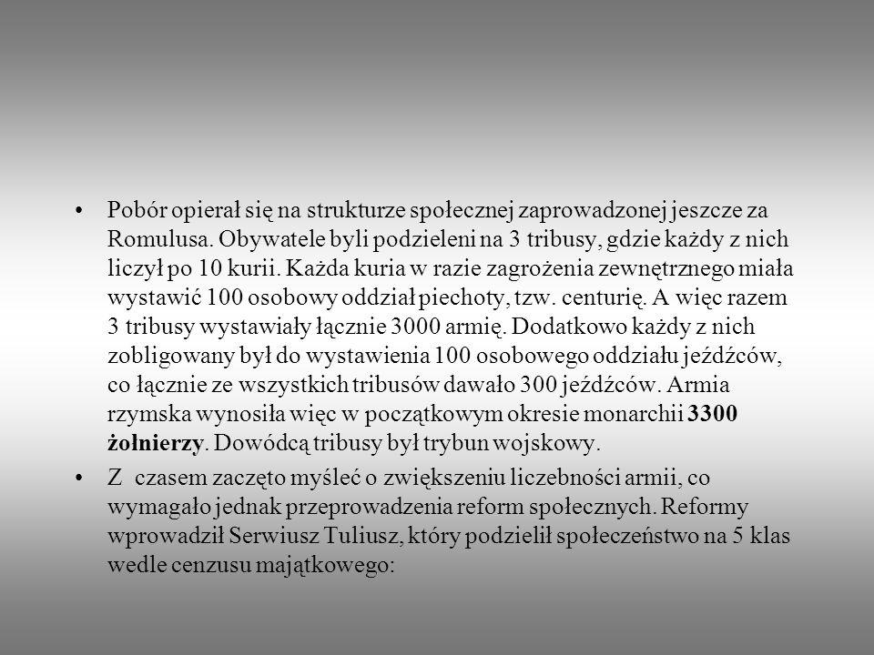 Pobór opierał się na strukturze społecznej zaprowadzonej jeszcze za Romulusa. Obywatele byli podzieleni na 3 tribusy, gdzie każdy z nich liczył po 10 kurii. Każda kuria w razie zagrożenia zewnętrznego miała wystawić 100 osobowy oddział piechoty, tzw. centurię. A więc razem 3 tribusy wystawiały łącznie 3000 armię. Dodatkowo każdy z nich zobligowany był do wystawienia 100 osobowego oddziału jeźdźców, co łącznie ze wszystkich tribusów dawało 300 jeźdźców. Armia rzymska wynosiła więc w początkowym okresie monarchii 3300 żołnierzy. Dowódcą tribusy był trybun wojskowy.