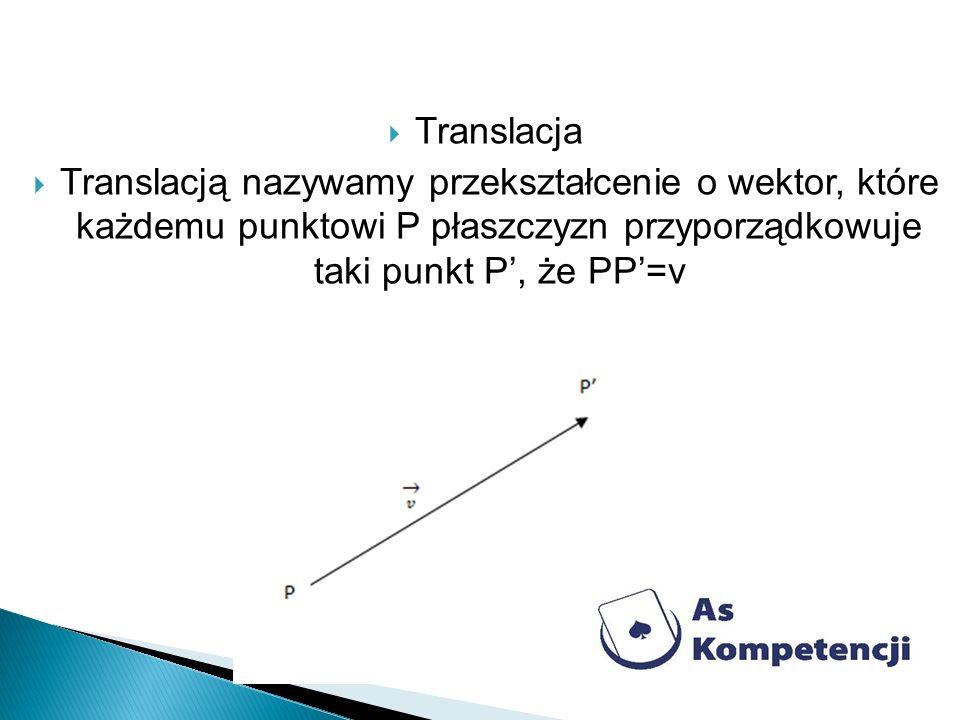 Translacja Translacją nazywamy przekształcenie o wektor, które każdemu punktowi P płaszczyzn przyporządkowuje taki punkt P', że PP'=v.