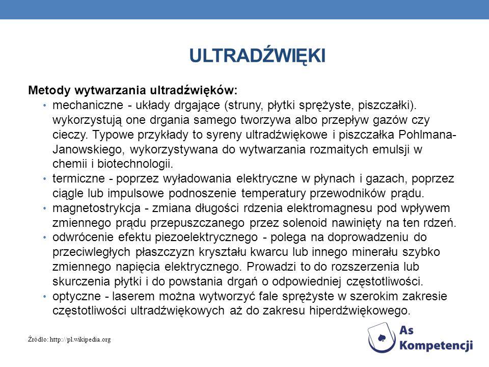ultradźwięki Metody wytwarzania ultradźwięków: