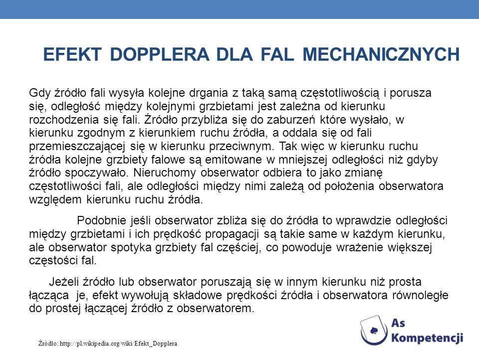 Efekt Dopplera dla fal mechanicznych
