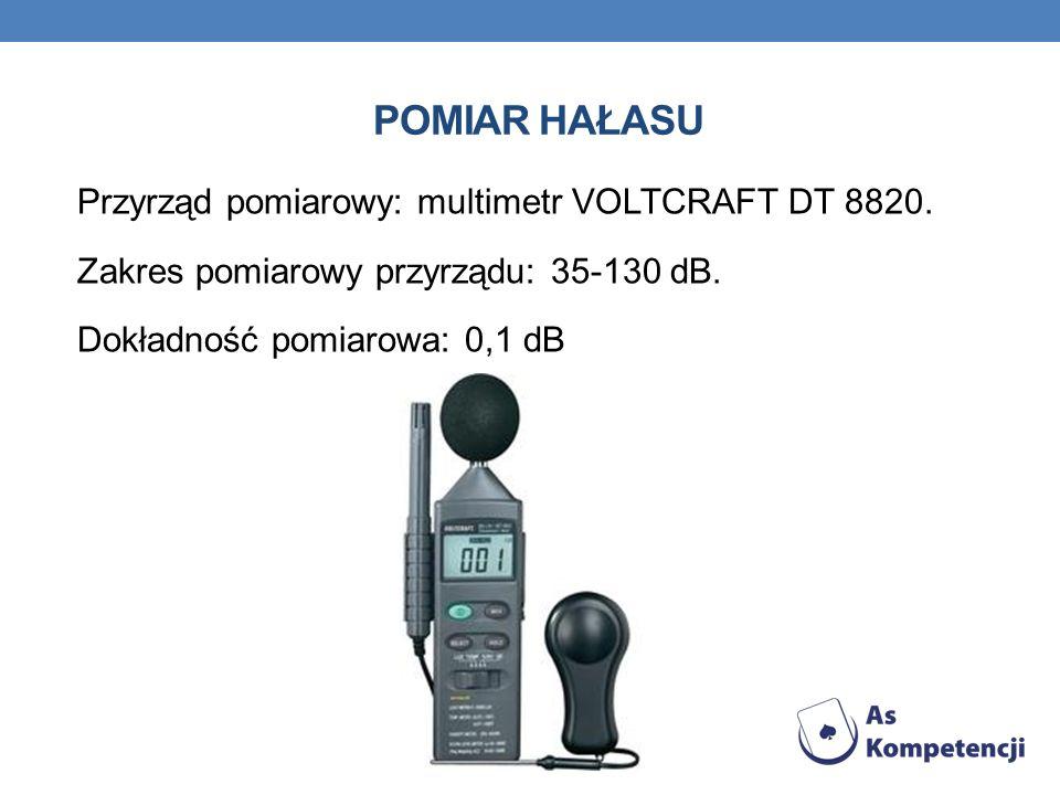 Pomiar hałasu Przyrząd pomiarowy: multimetr VOLTCRAFT DT 8820.