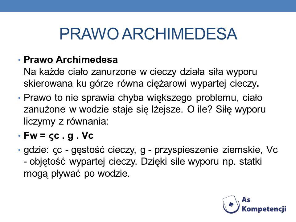 PRAWO ARCHIMEDESAPrawo Archimedesa Na każde ciało zanurzone w cieczy działa siła wyporu skierowana ku górze równa ciężarowi wypartej cieczy.