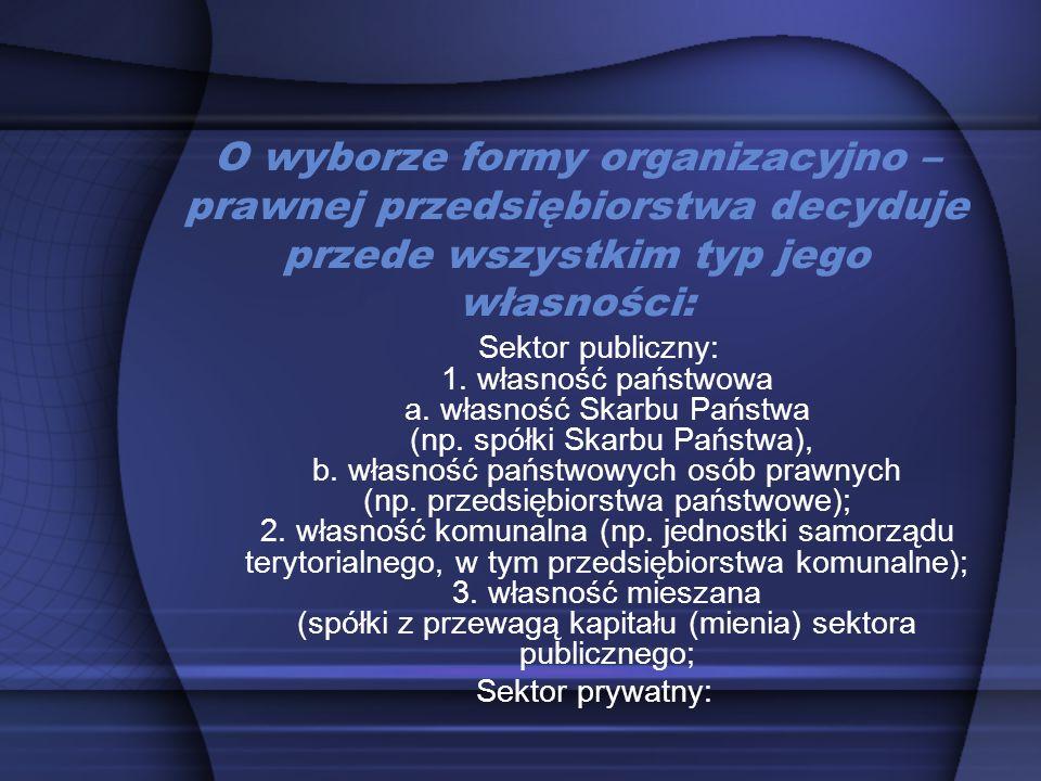 O wyborze formy organizacyjno – prawnej przedsiębiorstwa decyduje przede wszystkim typ jego własności: