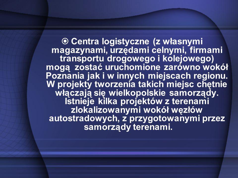 Centra logistyczne (z własnymi magazynami, urzędami celnymi, firmami transportu drogowego i kolejowego) mogą zostać uruchomione zarówno wokół Poznania jak i w innych miejscach regionu.