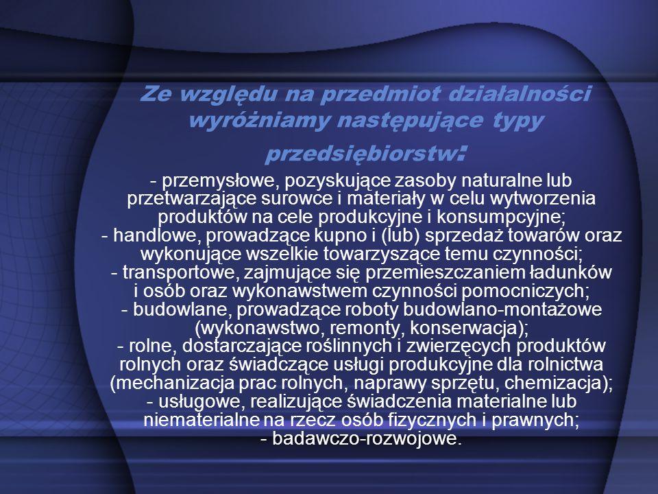 Ze względu na przedmiot działalności wyróżniamy następujące typy przedsiębiorstw: