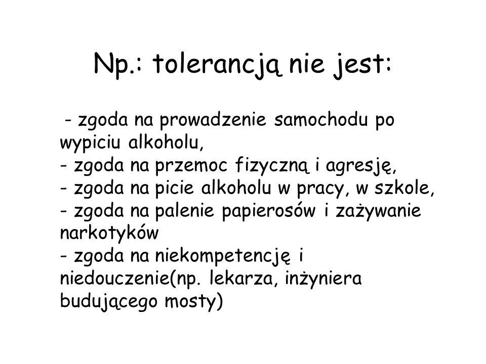 Np.: tolerancją nie jest: