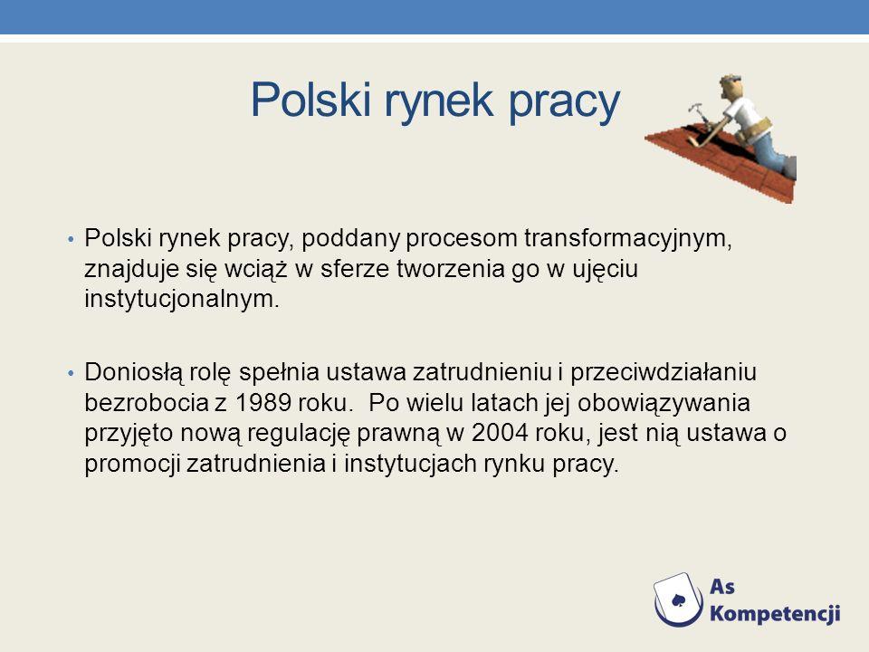 Polski rynek pracy Polski rynek pracy, poddany procesom transformacyjnym, znajduje się wciąż w sferze tworzenia go w ujęciu instytucjonalnym.