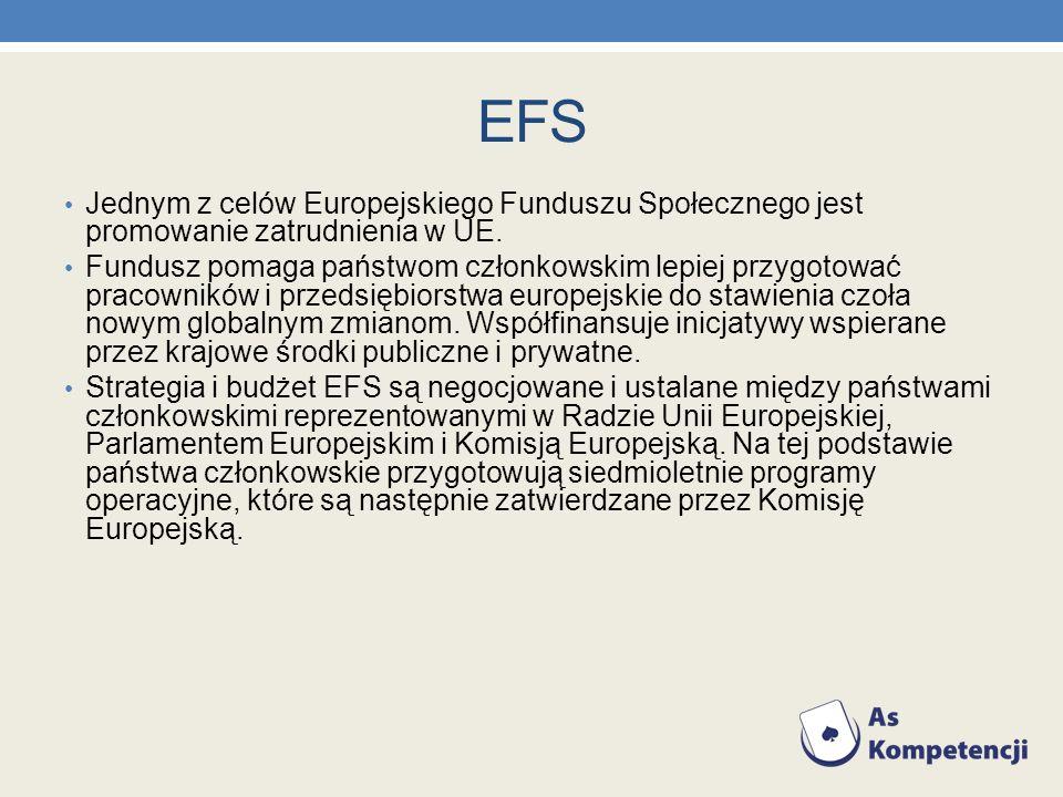 EFS Jednym z celów Europejskiego Funduszu Społecznego jest promowanie zatrudnienia w UE.