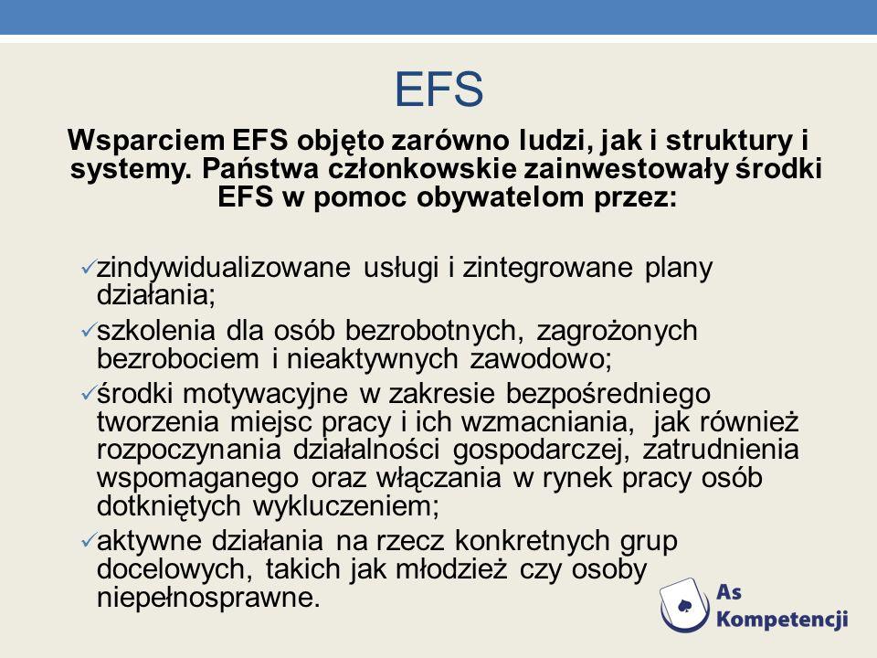 EFS Wsparciem EFS objęto zarówno ludzi, jak i struktury i systemy. Państwa członkowskie zainwestowały środki EFS w pomoc obywatelom przez: