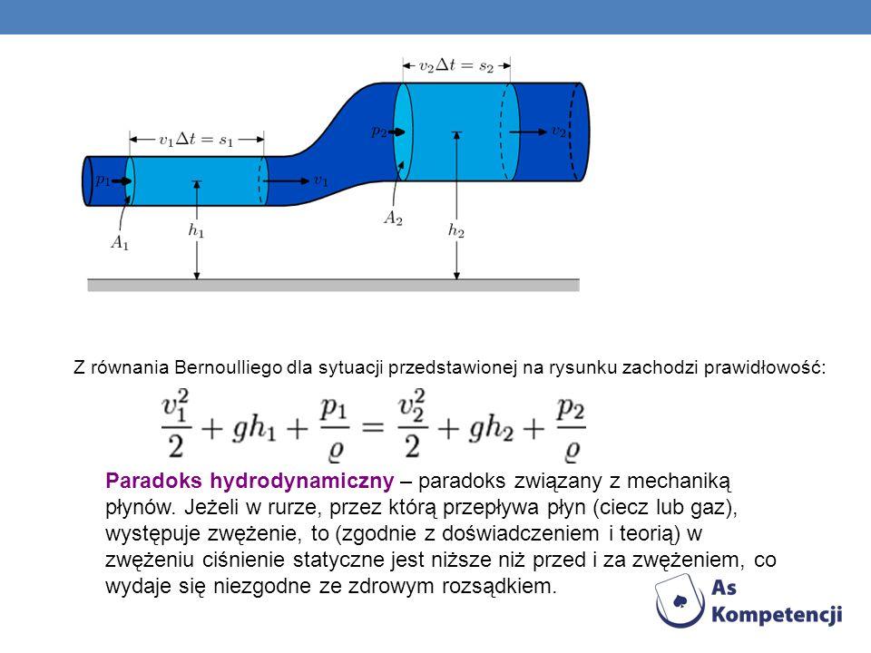 Z równania Bernoulliego dla sytuacji przedstawionej na rysunku zachodzi prawidłowość: