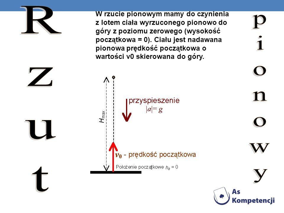 W rzucie pionowym mamy do czynienia z lotem ciała wyrzuconego pionowo do góry z poziomu zerowego (wysokość początkowa = 0). Ciału jest nadawana pionowa prędkość początkowa o wartości v0 skierowana do góry.