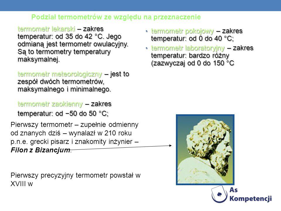 Podział termometrów ze względu na przeznaczenie