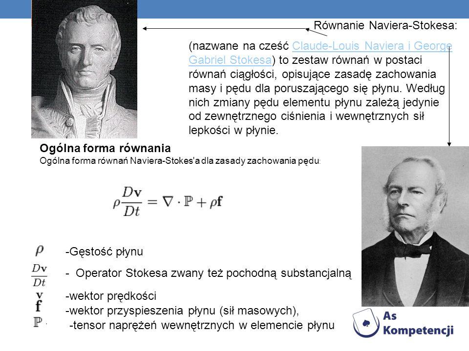 Równanie Naviera-Stokesa: