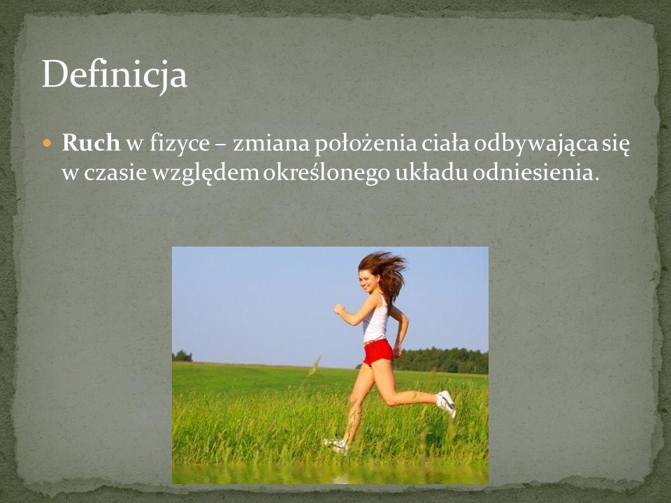 Definicja Ruch w fizyce – zmiana położenia ciała odbywająca się w czasie względem określonego układu odniesienia.