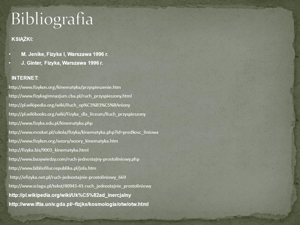 Bibliografia KSIĄŻKI: M. Jenike, Fizyka I, Warszawa 1996 r.