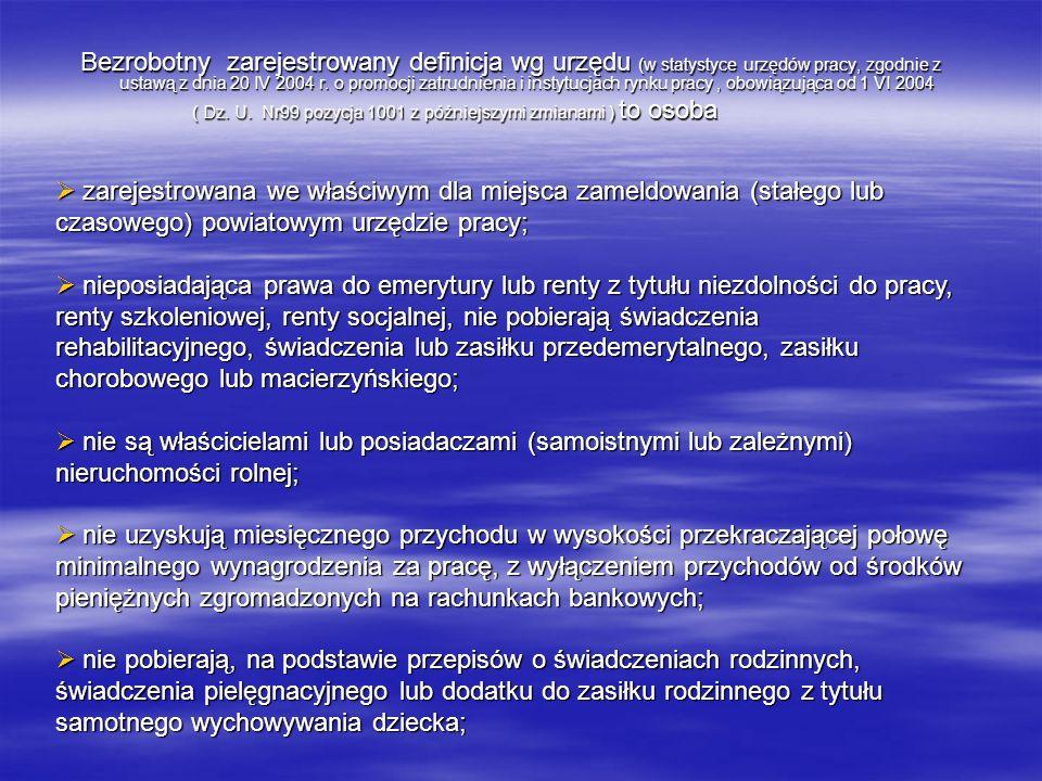Bezrobotny zarejestrowany definicja wg urzędu (w statystyce urzędów pracy, zgodnie z ustawą z dnia 20 IV 2004 r. o promocji zatrudnienia i instytucjach rynku pracy , obowiązująca od 1 VI 2004