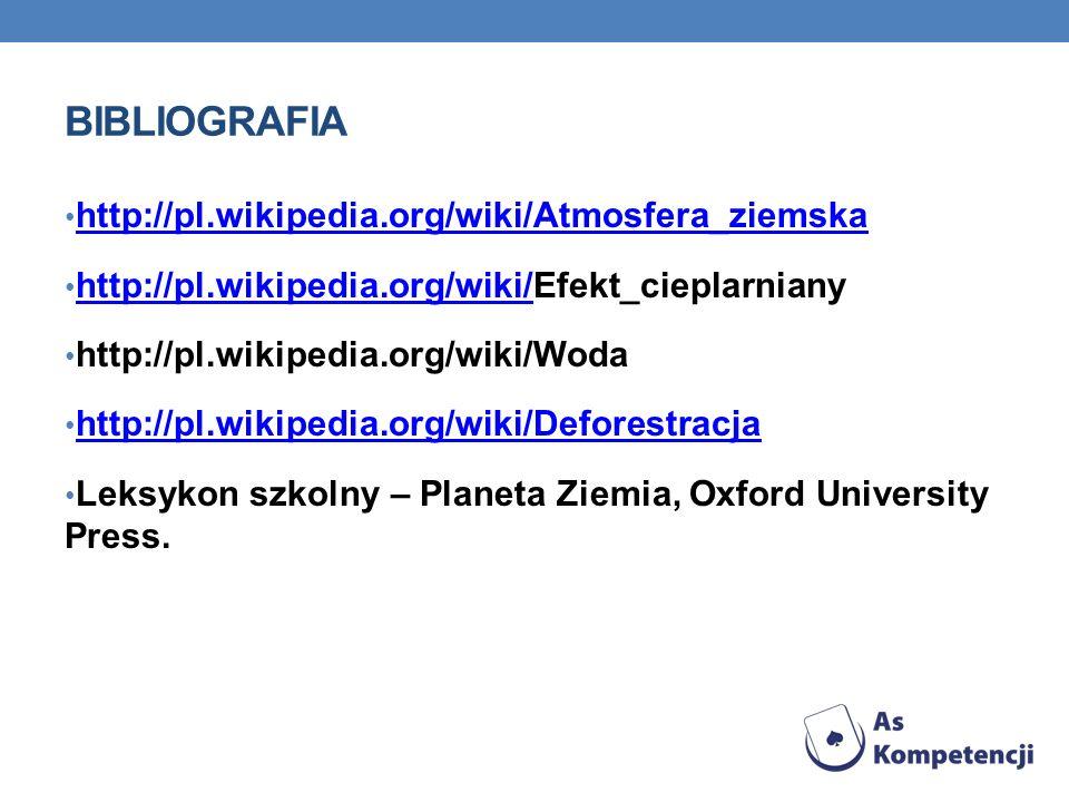 Bibliografia http://pl.wikipedia.org/wiki/Atmosfera_ziemska
