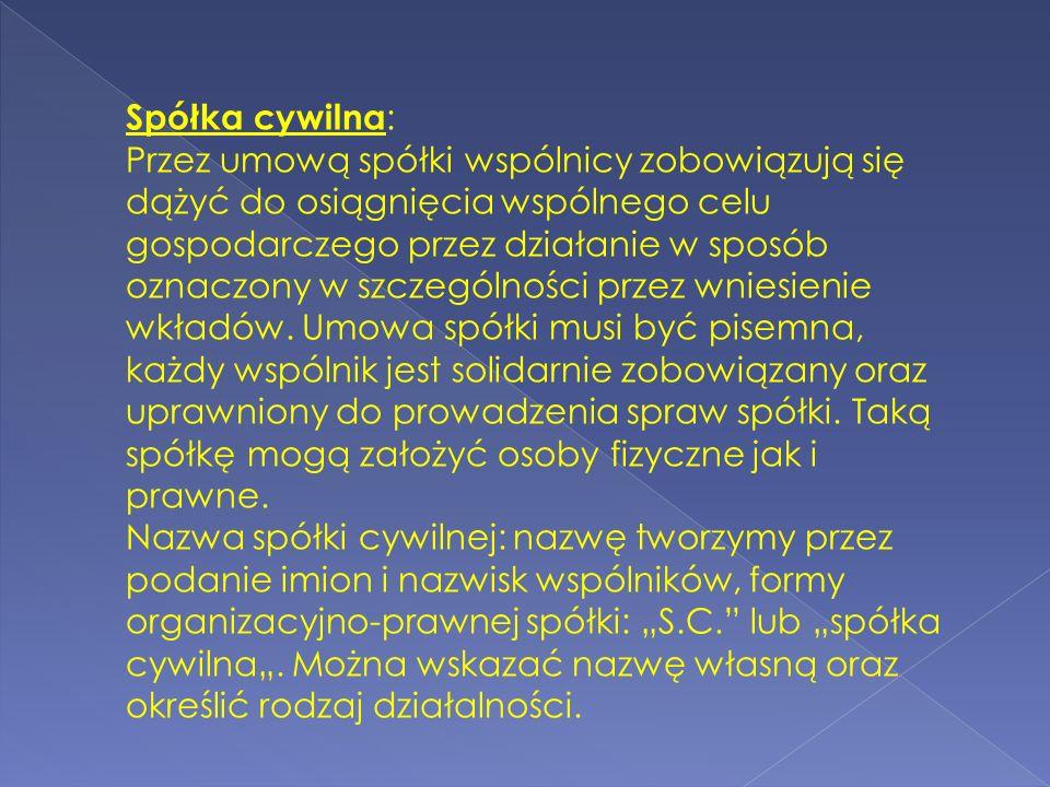 Spółka cywilna: