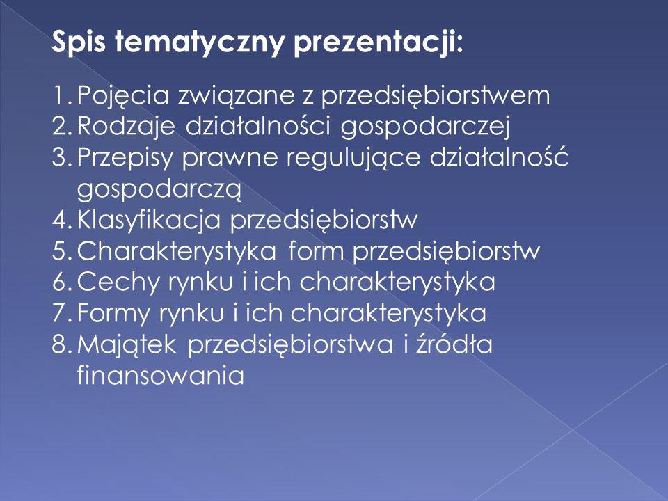 Spis tematyczny prezentacji:
