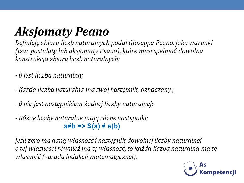 Aksjomaty Peano Definicję zbioru liczb naturalnych podał Giuseppe Peano, jako warunki (tzw. postulaty lub aksjomaty Peano), które musi spełniać dowolna konstrukcja zbioru liczb naturalnych: - 0 jest liczbą naturalną;