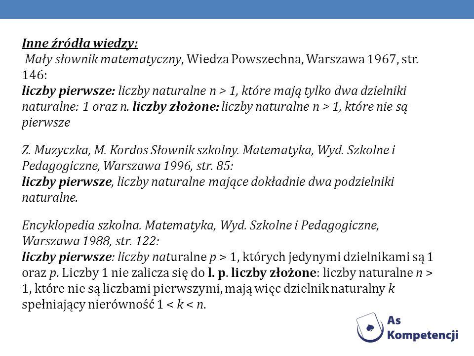 Inne źródła wiedzy: Mały słownik matematyczny, Wiedza Powszechna, Warszawa 1967, str.