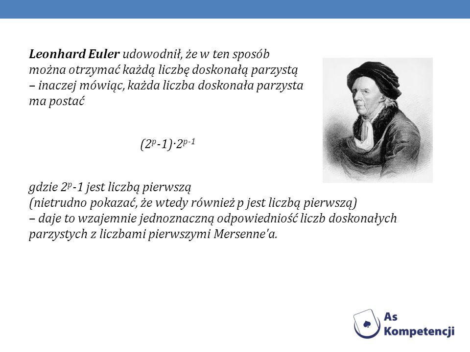 Leonhard Euler udowodnił, że w ten sposób można otrzymać każdą liczbę doskonałą parzystą – inaczej mówiąc, każda liczba doskonała parzysta ma postać (2p-1)·2p-1 gdzie 2p-1 jest liczbą pierwszą (nietrudno pokazać, że wtedy również p jest liczbą pierwszą) – daje to wzajemnie jednoznaczną odpowiedniość liczb doskonałych parzystych z liczbami pierwszymi Mersenne a.