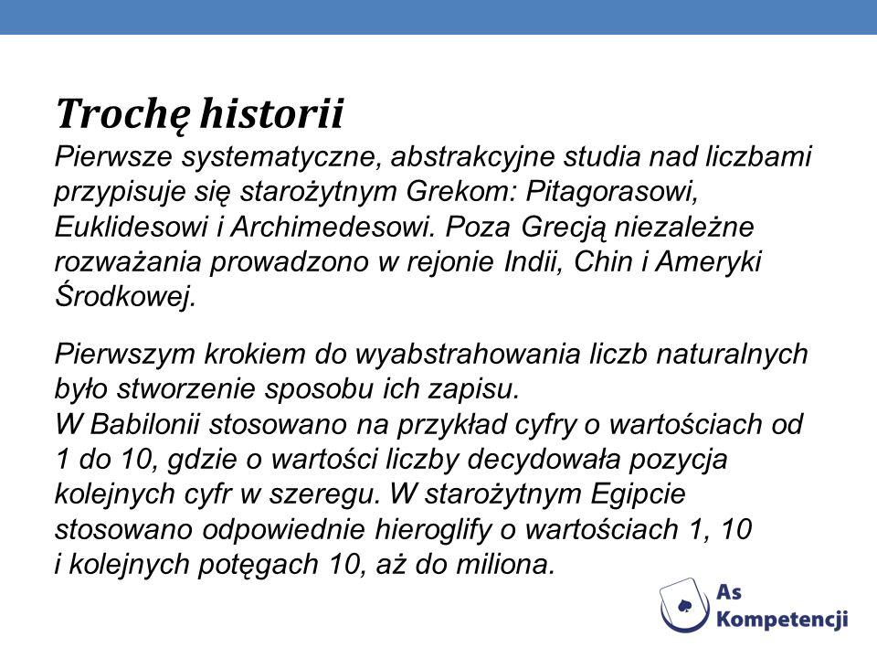 Trochę historii Pierwsze systematyczne, abstrakcyjne studia nad liczbami przypisuje się starożytnym Grekom: Pitagorasowi, Euklidesowi i Archimedesowi. Poza Grecją niezależne rozważania prowadzono w rejonie Indii, Chin i Ameryki Środkowej.