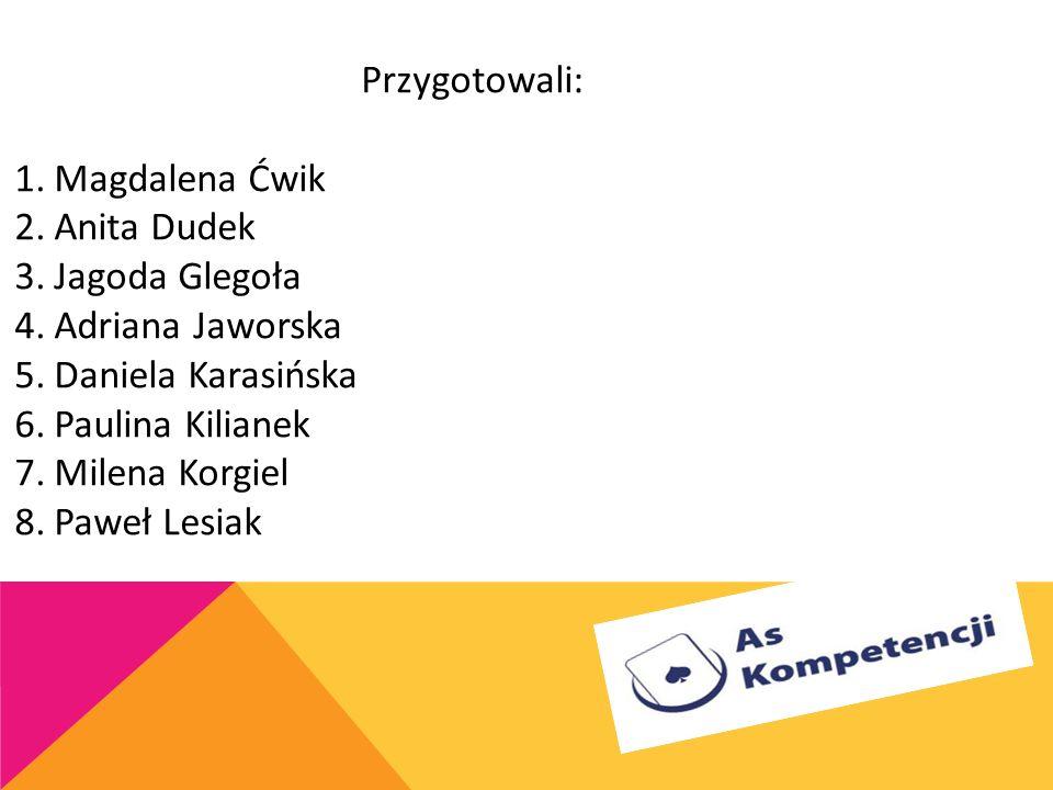 Przygotowali: Magdalena Ćwik. Anita Dudek. Jagoda Glegoła. Adriana Jaworska. Daniela Karasińska.