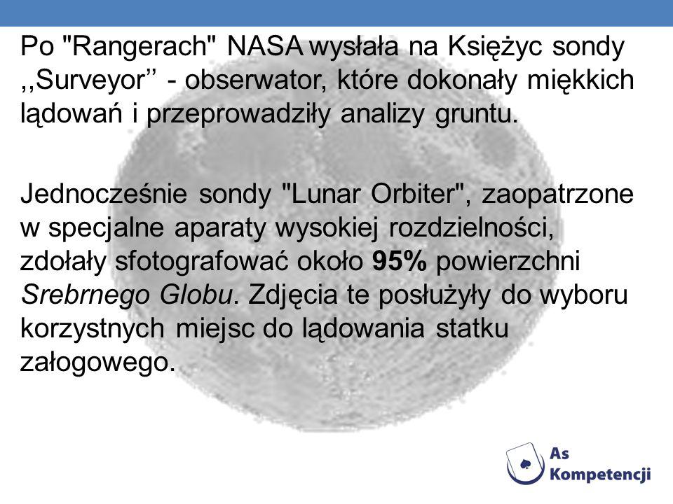 Po Rangerach NASA wysłała na Księżyc sondy ,,Surveyor'' - obserwator, które dokonały miękkich lądowań i przeprowadziły analizy gruntu.