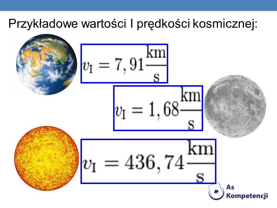 Przykładowe wartości I prędkości kosmicznej: