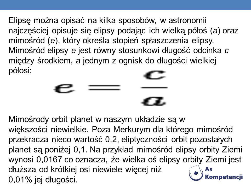 Elipsę można opisać na kilka sposobów, w astronomii najczęściej opisuje się elipsy podając ich wielką półoś (a) oraz mimośród (e), który określa stopień spłaszczenia elipsy.