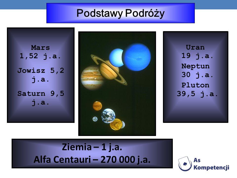Podstawy Podróży Ziemia – 1 j.a. Alfa Centauri – 270 000 j.a.