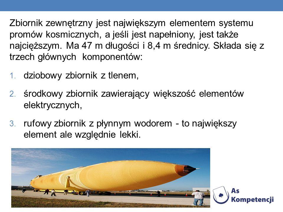Zbiornik zewnętrzny jest największym elementem systemu promów kosmicznych, a jeśli jest napełniony, jest także najcięższym. Ma 47 m długości i 8,4 m średnicy. Składa się z trzech głównych komponentów: