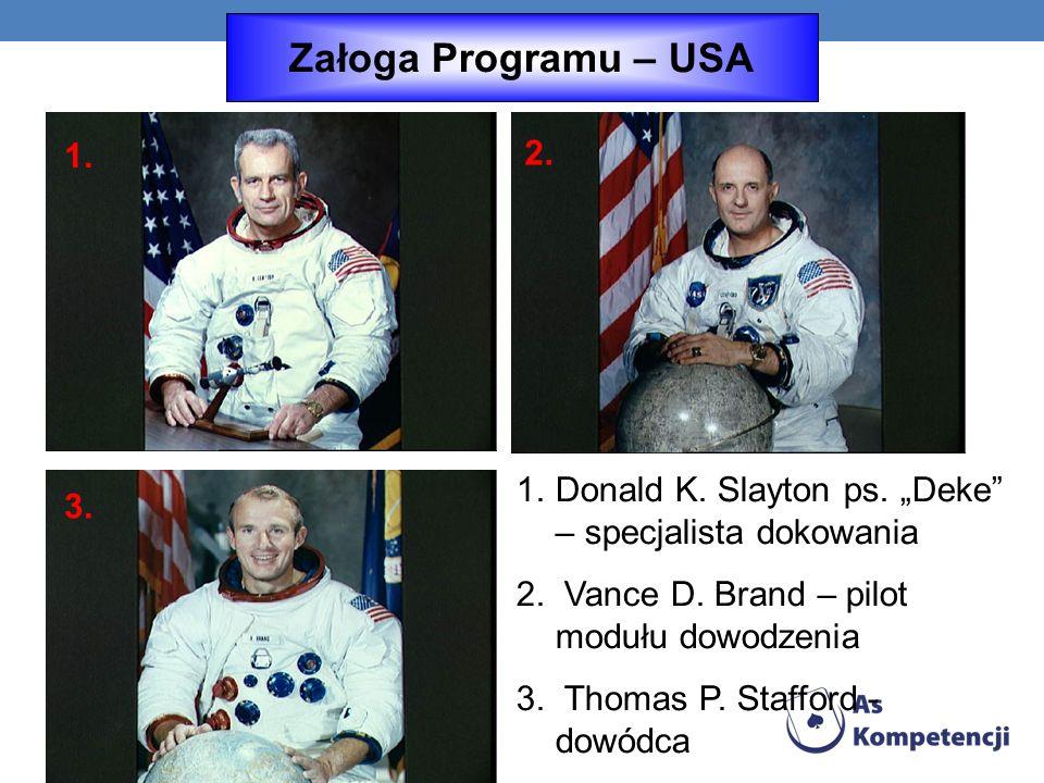 """Załoga Programu – USA 1. 2. Donald K. Slayton ps. """"Deke – specjalista dokowania. 2. Vance D. Brand – pilot modułu dowodzenia."""