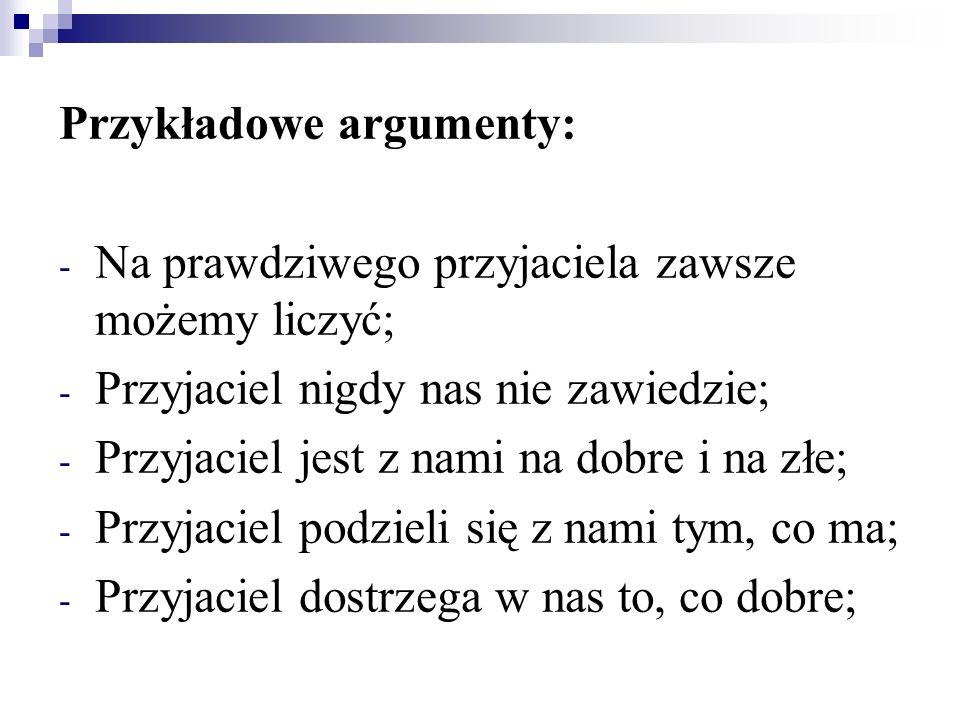Przykładowe argumenty: