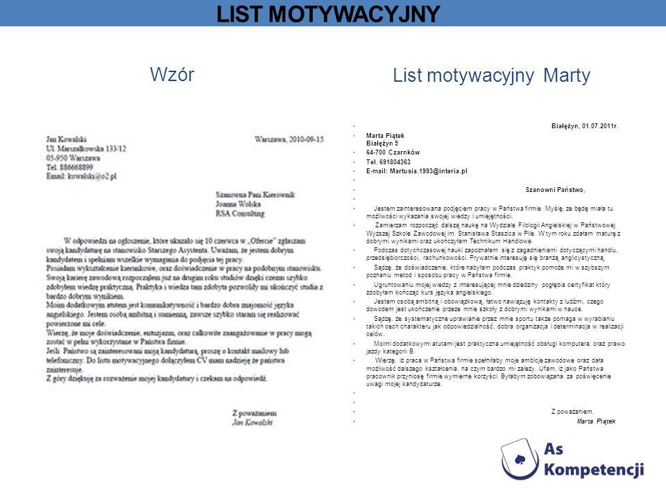 List motywacyjny Marty